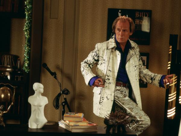 <p>Bill Nighy playing aging rocker Billy Mack in the 2003 romantic comedy <em>Love Actually</em>. </p>