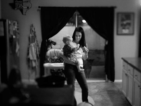 <p>Amy Murray at home with her daughter Harper in Oceanside, Calif. Her husband, Capt. Patrick Murray, with the Darkhorse battalion, returned home from Afghanistan, in April 2011; 25 Marines from his unit did not.</p>