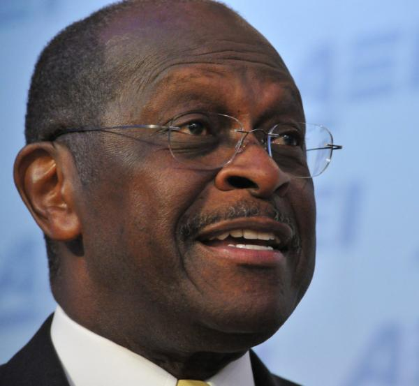 <p>Republican presidential contender Herman Cain during an appearance at the American Enterprise Institute on Monday.</p>