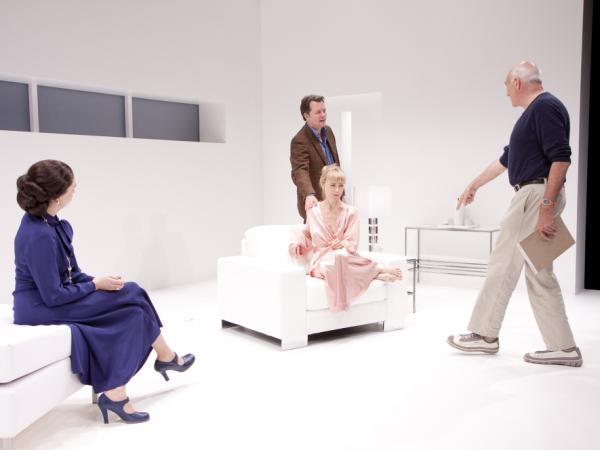Michael Kahn (right) directs Holly Twyford, Tracy Lynn Middendorf and Steven Culp in his 2011 production of <em>Old Times</em>.