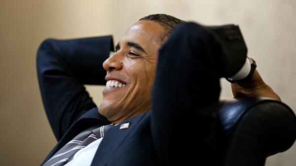 <p>A relaxed and fit President Obama meets with senior advisers at the White House in early July. </p>