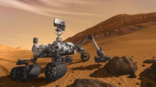 NASA's next Mars rover, Curiosity, seen in this artist's rendering, will use 8 pounds of plutonium-238 as its power supply. That's a significant portion of the remaining space fuel. NASA and the Department of Energy have offered to split the costs of producing the fuel, but Congress has so far opposed that arrangement.