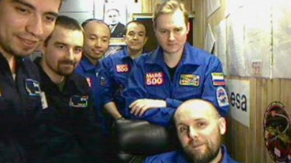 Members of the Mars500 crew  posing during their Mars500 mission.