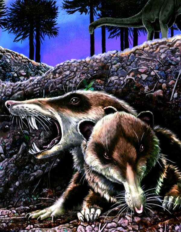 Reconstruction of <em>Cronopio dentiacutus</em> in its native environment at La Buitrera locality, Patagonia, Argentina, during the early Late Cretaceous (approximately 94 Million years ago).