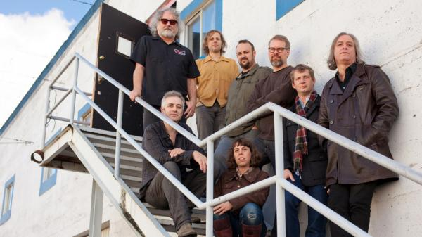 John Wesley Harding (bottom left) and the touring company for <em>The Sound of His Own Voice</em>, featuring members of The Decemberists, R.E.M., and The Minus 5.
