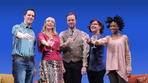 <em>The Book Club Play, </em>revamped by author Karen Zacarías as part of her residency in the American Voices New Play Institute at Arena Stage, is a comedy about life, love and literature.The cast, from left, included Eric Messner, Kate Eastwood Norris, Tom Story, Ashlie Atkinson and Rachael Holmes.