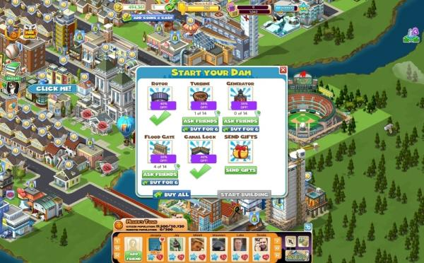 "A screenshot of Piskorskiville. Five percent of Zynga's 200 million monthly users buy ""virtual goods"" to get ahead in the game or beautify their city."