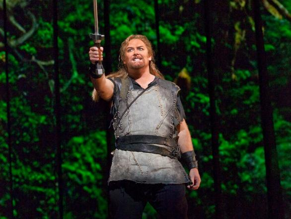 Jay Hunter Morris performs in the new Metropolitan Opera production of Richard Wagner's <em>Siegfried</em>. The show's vivid backdrops were created with advanced 3D projection technology.