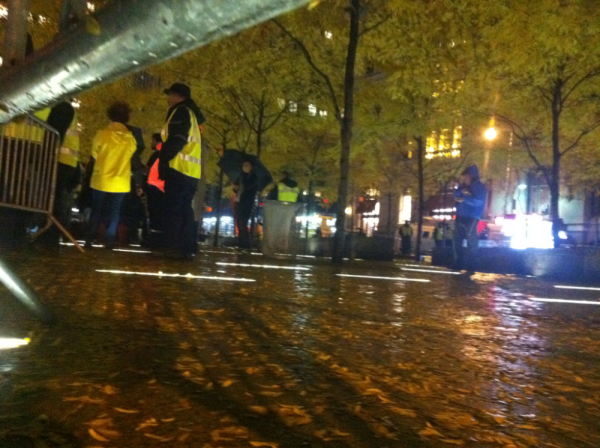 A near-empty Zuccotti Park on Wednesday night.