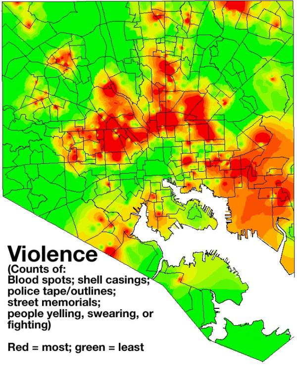 Addicts' movements around Baltimore are mapped onto images like this, showing levels of violence in each neighborhood.  Other maps track things like visible drug use and vacant housing-- all factors that may contribute to an addict's decision to use drugs.