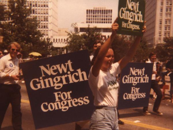 Newt Gingrich's daughter Kathy marches in a campaign rally with supporters for his 1978 run for Congress. He won that race, and served in the U.S. for 20 years, including four as speaker of the House.