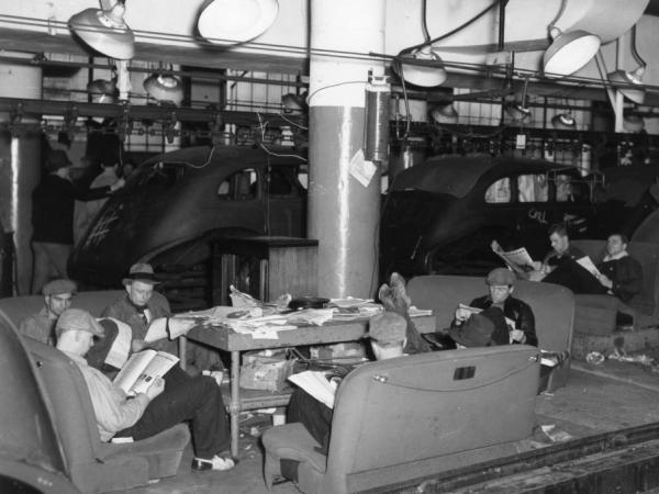 Members of the nascent United Auto Workers union staged sit-down strikes in several Flint, Mich., Fisher Body plants in late 1936 and early 1937.