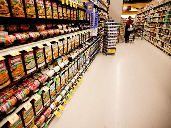 The soup aisle at a grocery store in Washington, D.C.
