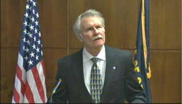 Governor John Kitzhaber's death penalty announcement was somber. Courtesy Oregon Legislative Media