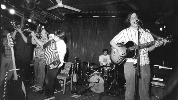 Neutral Milk Hotel performs at Spaceland in Los Angeles in 1998.