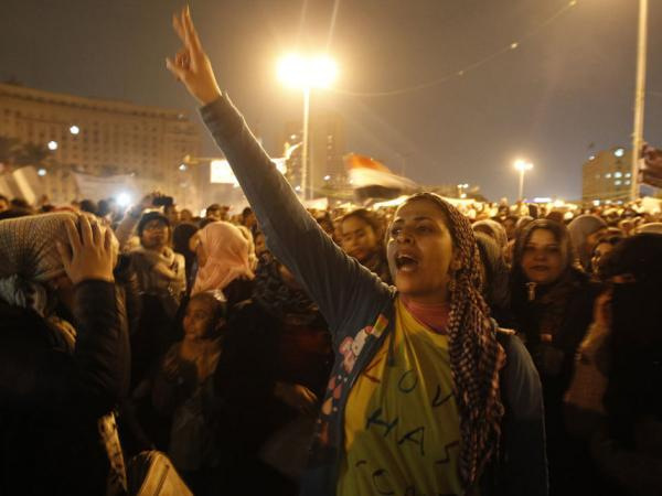Egyptian women join a mass protest in Cairo's Tahrir square on November 24, 2011, as members of Egypt's ruling military council rejected calls to step down immediately, saying it would amount to a 'betrayal' as anti-military protests entered their seventh day.