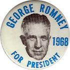 A button from George Romney's 1968 Republican campaign for president.