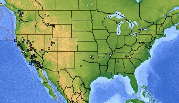 USGS map of the earthquakes in the USA from November 22-29, 2011.