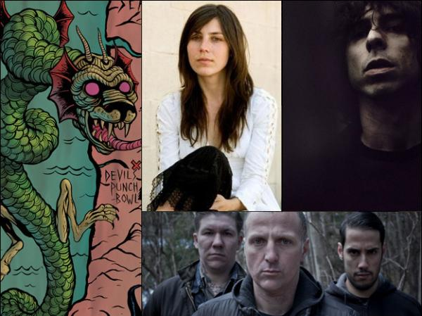 Clockwise from top left: Artwork from Witch Mountain's South of Salem, Julia Holter, The Psychic Paramount, Tombs.