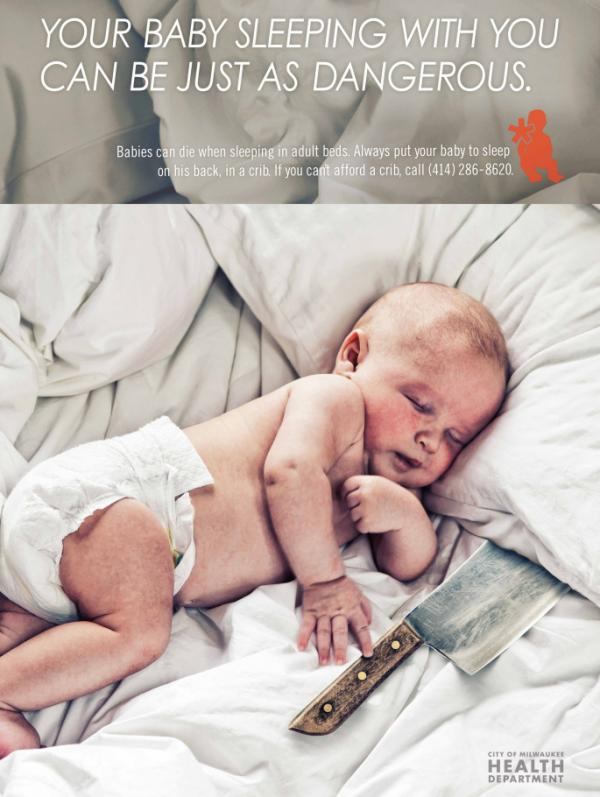 Babies sleeping with their parents risk death, according to an ad campaign by the Milwaukee Health Department.