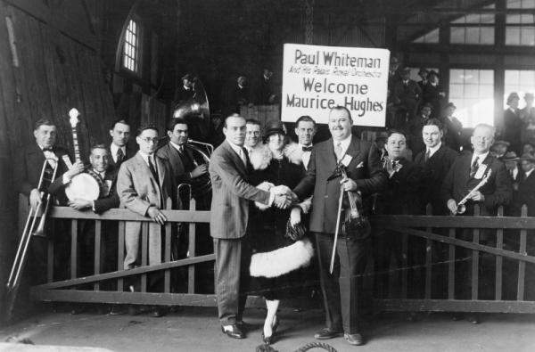 "Paul Whiteman and his Palais Royal Orchestra, who appear on a 1924 recording of George Gershwin's ""Rhapsody in Blue"" with the composer at the piano. The recording is part of the new ""National Jukebox"" from the Library of Congress."