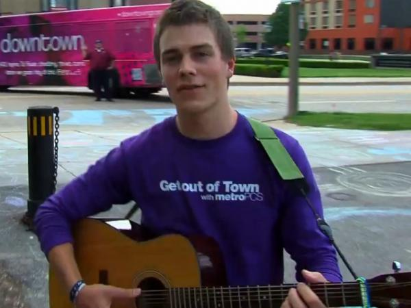 A screencap from the Grand Rapids Lip Dub.