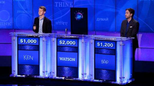 """Jeopardy!"" contestants Ken Jennings and Brad Rutter compete against Watson at a press conference in January. Soon Watson could be giving answers to your doctor's questions."