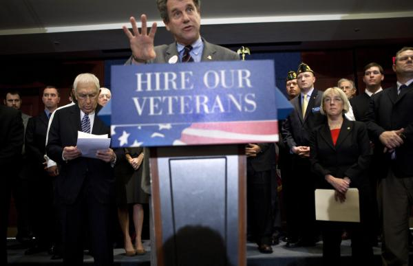 Sen. Sherrod Brown, D-Ohio, speaks on Capitol Hill about the Hire Heroes Act, which gives tax breaks to businesses that hire unemployed veterans. Vets that have served since 2001 face a higher unemployment rate than the population overall.