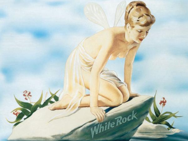 This image of Psyche is used on all of White Rock's beverages. In the late 1800s when White Rock started up, the image wasn't considered lewd or suggestive, the company's president says.