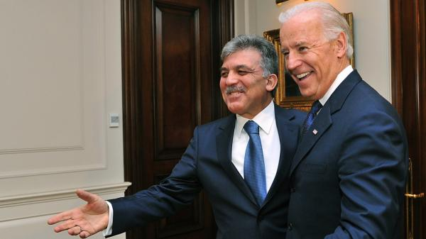 U.S. Vice President Joe Biden, right, and Turkish President Abdullah Gul meet in Ankara, Turkey on Friday. Biden praised Turkey for putting pressure on neighboring Syria to stop its bloody crackdown of protesters.