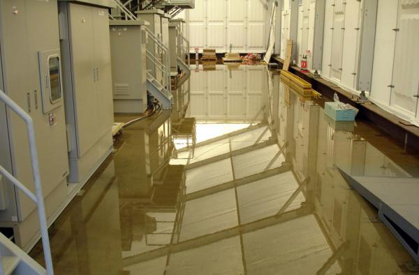 This handout picture, taken by Tokyo Electric Power Co (TEPCO) shows radioactive water on the floor inside the building of a water treatment facility at TEPCO's Fukushima Daiichi nuclear plant.