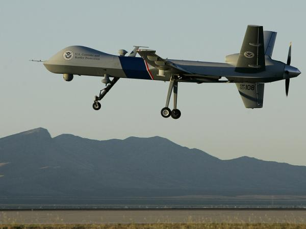 A Predator drone unmanned aerial vehicle takes off on a U.S. Customs Border Protection mission from Fort Huachuca, Ariz.