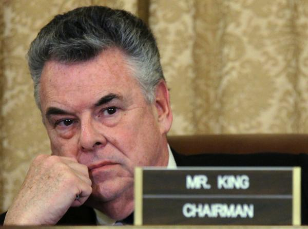 Committee Chairman U.S. Rep. Peter King (R-NY) listens during a hearing on Muslim radicalization before the House Homeland Security Committee in March.