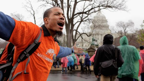 "Hundreds of demonstrators marched on Capitol Hill Tuesday to occupy the offices of their members of Congress during the ""Take Back the Capitol"" protest  in Washington, DC. On Wednesday, they plan to target K Street."