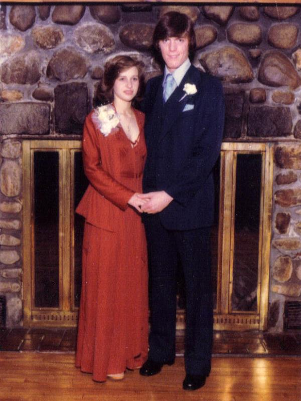 MaryAnn and Jim Fletcher pose for a photo on the night of their junior prom dance, in the Half Hollow Hills School District of New York's Long Island.