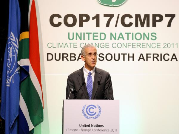 The U.S. climate change envoy Todd Stern delivers a speech on Dec. 8 in Durban, South Africa, during the U.N. Climate Change Conference. The climate talks entered their second week entangled in a thick mesh of issues with no guarantee that negotiators and their ministers will be able to sort them out.