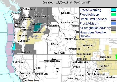 This National Weather Service Map shows advisories and warnings for Pacific Northwest states on December 8, 2011.