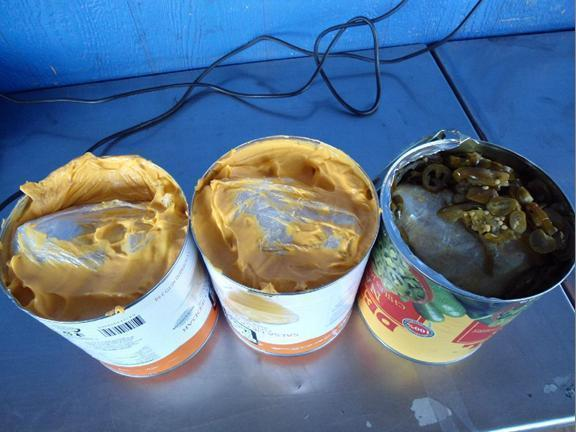 Seven pounds of methamphetamine hidden into nacho cheese and jalapeno containers were seized by customs officials at the border crossing in San Ysidro, Calif. this week.