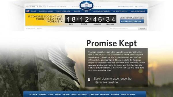 """Promise Kept,"" it says on the landing page of the Iraq War interactive timeline posted by the White House today."