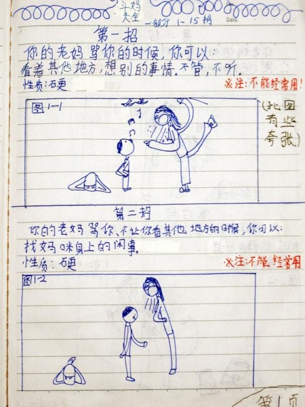 This is the drawing on the first page of <em>The Complete Guide to Combat with Mum</em>, which Chen Leshui's dad posted online.