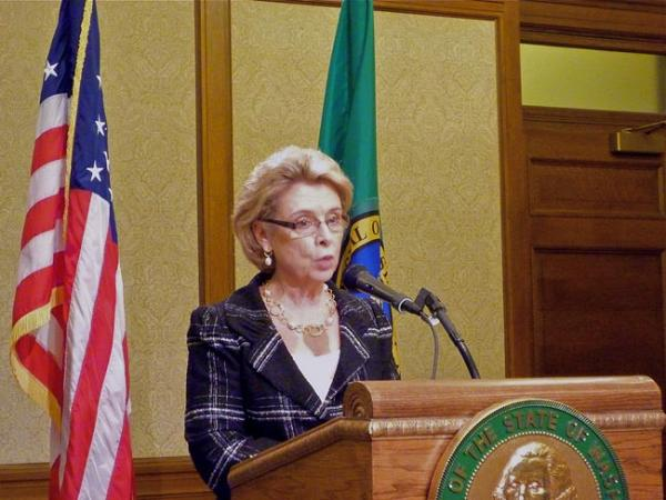 Gov. Chris Gregoire announces education reform proposals. Photo by Joe Concannon