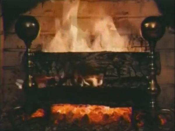 A screencap of the iconic WPIX Yule Log. The original video was filmed in 1966; this version was redone in 1970.