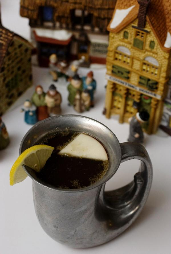 A cup of wassail, a mulled warm drink.