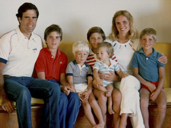 This 1982 family photo provided by the Romney campaign shows the Romney family during summer vacation: from left, Mitt, Tagg, Ben, Matt, Craig, Ann and Josh Romney. Seamus, unfortunately, is not pictured. His fateful voyage to Canada occurred the following summer.