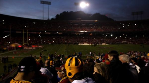 Most of the lights were out, but between camera flashes and emergency back-ups it wasn't pitch black when there were two power failures Monday night at San Francisco's  Candlestick Park.