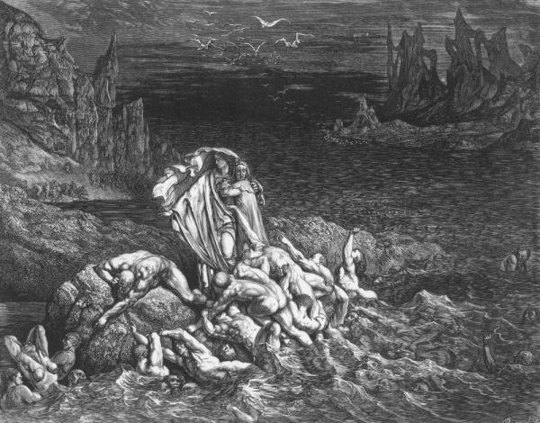 Hell was much written and thought about in 2011. In this 18th-century engraving accompanying Dante's <em>Inferno</em>, Virgil leads the poet past souls writhing in torment in the River Styx.