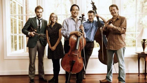 Left to right: Chris Thile, Aoife O'Donovan, Yo-Yo Ma, Edgar Meyer and Stuart Duncan of The Goat Rodeo Sessions.