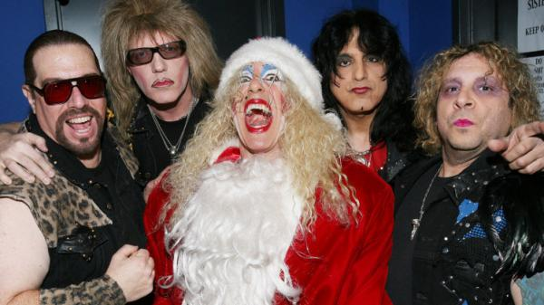 Twisted Sister in 2008, posing backstage at a live performance of its holiday album, <em>A Twisted Christmas</em>.