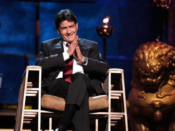 Charlie Sheen laughs onstage during a Comedy Central roast of him on Sept. 10.