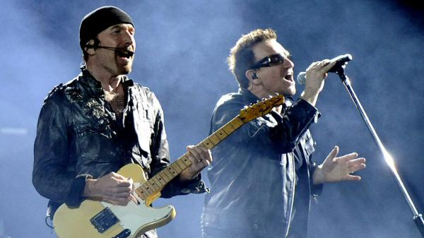 The Edge and Bono performing in June at the Oakland, Calif., stop of U2's 360˚ Tour — the most successful in history.